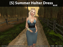 [S] Summer Halter Dress Blue