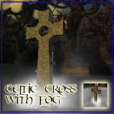 Gothic or Halloween Celtic Cross with fog