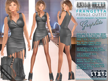 Bella Moda: Frangetta Graphite Fringe Dress & Shoes Outfit Fitted for Maitreya/Physique/Hourglass/Classic+Std Sizes FULL