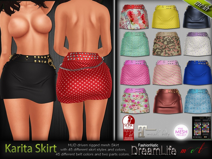 Karita Mini Skirt MESH - Maitreya Lara, Slink Physique Hourglass, TMP - HUD - DreamLife - FashionNatic