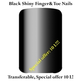 Black shiny(polished) finger&toe nails special offer (transfer only, in a few sizes)