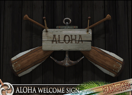 HeadHunter's Island - Welcome sign decoration - nautical - MESH - paddles/anchor/aloha