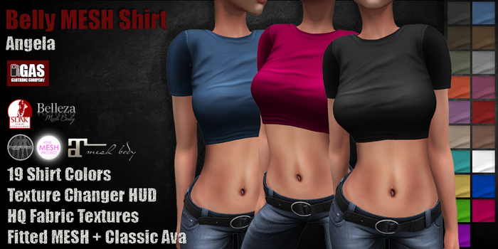 GAS [Belly MESH Shirt Angela - 19 Colors with HUD]