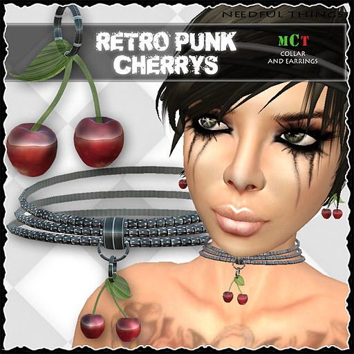*NT* retro punk cherries collar & earrings / Neko Style