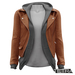TETRA - Leather Jacket with Hoodie (Brown)