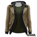 TETRA - Leather Jacket with Hoodie (Khaki)
