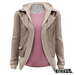 TETRA - Leather Jacket with Hoodie (Taupe)