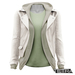 TETRA - Leather Jacket with Hoodie (White)