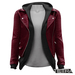 TETRA - Leather Jacket with Hoodie (Burgundy)