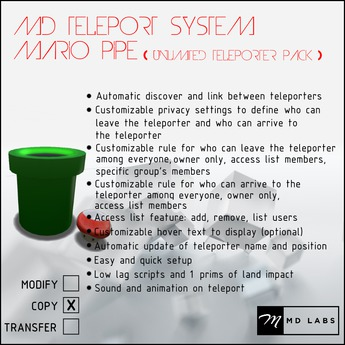 MD Teleport System - Mario Pipe