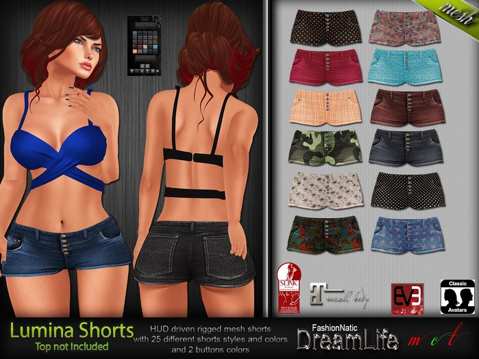Lumina Shorts Mesh - Maitreya Lara, Slink Physique Hourglass, Eve Slink Pulpy - DreamLife FashionNatic