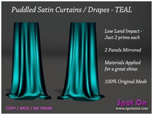 Spot On Puddled Satin Curtains Drapes TEAL