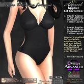 ~JJ~ Lycra One-piece Swimsuit Omega Applier (black)