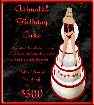 Admirable Second Life Marketplace Pop Out Animated Birthday Cake Personalised Birthday Cards Arneslily Jamesorg