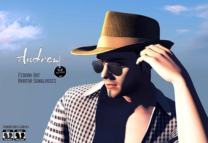 Andrew Aviator Sunglasses [Black] & Fedora Hat