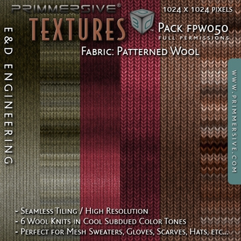 second life marketplace fpw050 6 1024px wool knit fabric textures in subdued colors for mesh sweaters and accessories by e d engineering second life marketplace