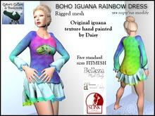 :GG: Belleza, Maitreya, Slink. Fitmesh 5 standard sizes. Boho Iguana Rainbow Dress 100% mesh