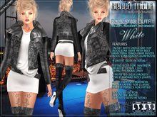 Bella Moda: Divo White Rock Star Skirt, Jacket & Boots Outfit - Fitted for Maitreya/Slink/Belleza/+Classic Sizes - FULL