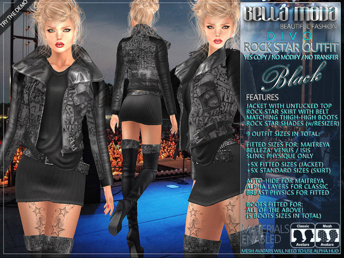 Bella Moda: Divo Black Rock Star Skirt, Jacket & Boots Outfit - Fitted for Maitreya/Slink/Belleza/+Classic Sizes - FULL