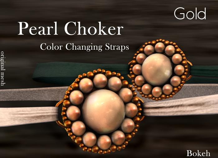 "Pearl Choker ""Gold"" (mesh) - Bokeh"