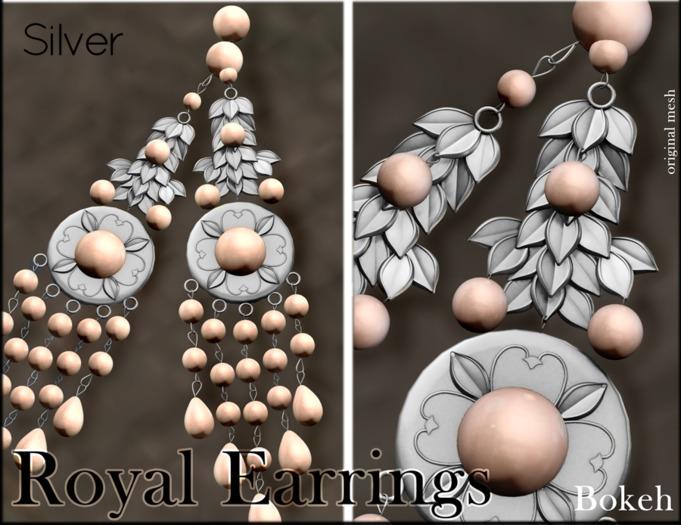 "Royal Earrings ""Silver"" (mesh) - Bokeh"