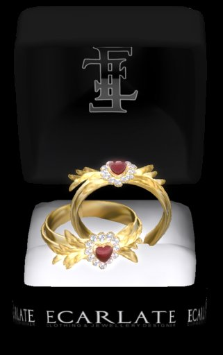 Ecarlate -(G) Ring Heart of gold leaf Red / Coeur feuilles d'or Rouge
