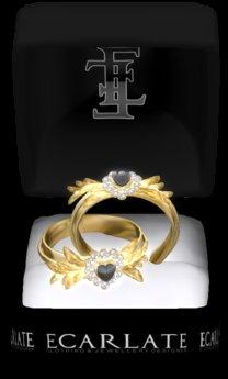 Ecarlate -(G) Ring Heart of gold leaf Black / Coeur feuilles d'or Noir
