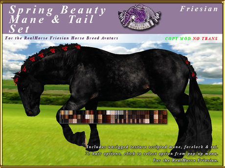 *E* Spring Beauty Mane/Tail Set [BOXED] RH Friesian