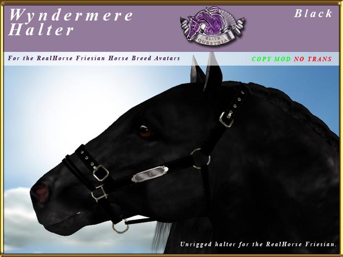 *E* Wyndermere Halter [BOXED] RH Friesian Black