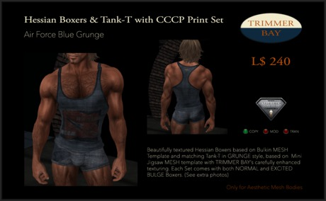 Hessian Boxers & Tank T SET in Air Force Blue with CCCP 1959 Print