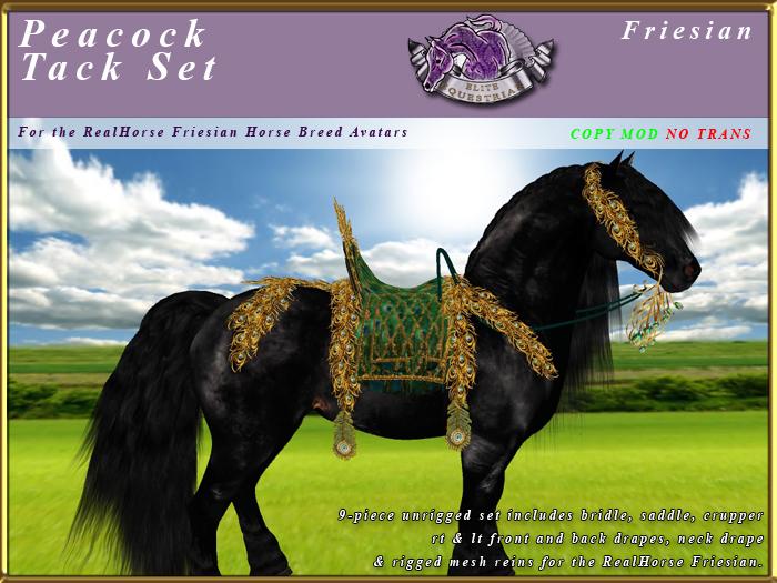 *E* Peacock Saddle Set  [BOXED] RH Friesian