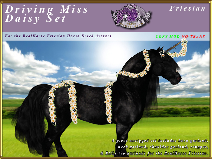 *E* RealHorse Driving Miss Daisy Set [BOXED]  RH Friesian