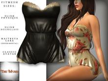 The Muses . Belle . Romper . Silk/Black (Buy Now - August) Fitmesh - Belleza, Slink, Maitreya, Classic Sizes.