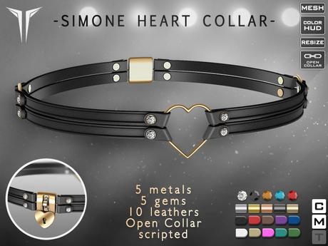 **RE** Simone Heart Collar RLV * MESH *