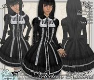 [Wishbox] Velveteen Ribbons (black) - Gothic Goth Babydoll Dolly Dress