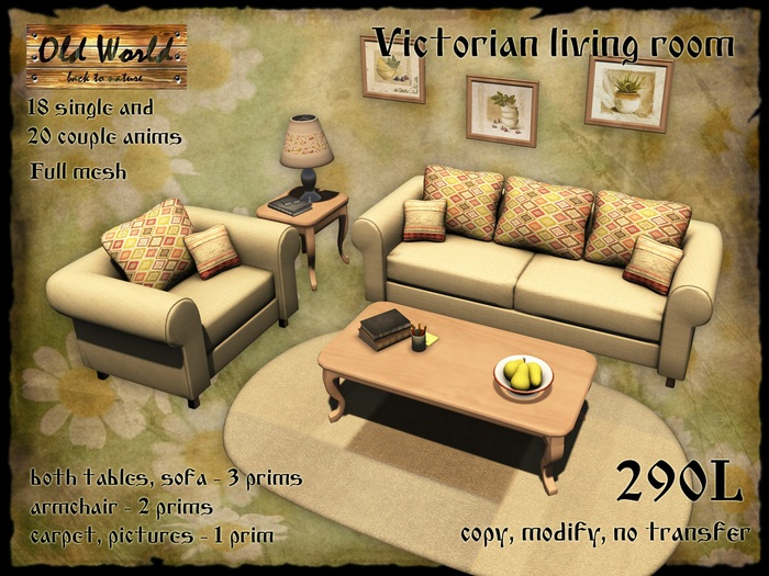 Second Life Marketplace Victorian Living Room Old World Medieval Rustic Furniture