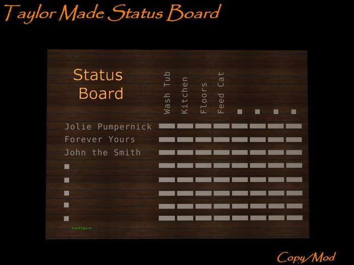 Taylor Made Status Board