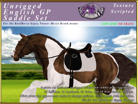 *E* Unrigged GP English Saddle Set  [BOXED] RH Gypsy Vanner