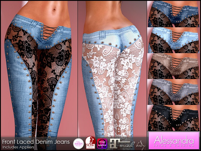 ALESSANDRA - Front Laced Denim Jeans (7 Colors)