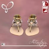 Afantasy FLAT SLINK Gold & Jeweled 'Kirsteen' Sandals