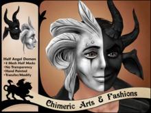 ~Chimeric Fashions~ Half Angel Demon Mask (Black & Grey)