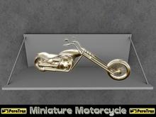 "(PeraTrax) - Miniature Chopper ""Flat Noir"" [Gold] /// Miniature Motorcycle /// Miniature Display Motorcycle /// Trans"