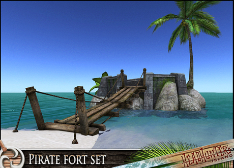 HeadHunter's Island - Pirate Fort Platform chill set - MESH - canon/barrels/palmtree - 94 multianimations