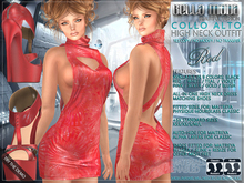 Bella Moda: Collo Alto Red High Neck Dress & Shoes Outfit - Fitted for Maitreya/Physique/Hourglass/Classic+Std - FULL