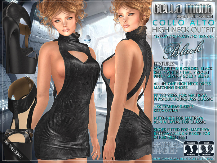 Bella Moda: Collo Alto Black High Neck Dress & Shoes Outfit - Fitted for Maitreya/Physique/Hourglass/Classic+Std - FULL