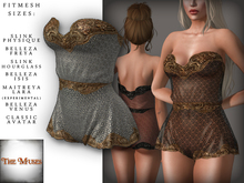 The Muses . Lacey . Romper . Gold/White -  Fitmesh - Belleza, Slink, Maitreya, Classic Sizes.