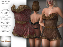 The Muses . Lacey . Romper . Gold/Red -  Fitmesh - Belleza, Slink, Maitreya, Classic Sizes.