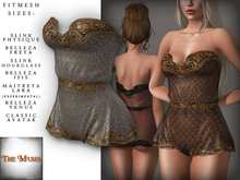 The Muses . Lacey . Romper . Gold/Ivory -  Fitmesh - Belleza, Slink, Maitreya, Classic Sizes.