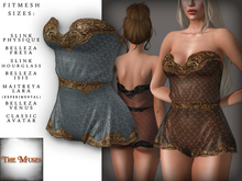 The Muses . Lacey . Romper . Gold/Blue -  Fitmesh - Belleza, Slink, Maitreya, Classic Sizes.