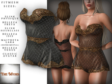 The Muses . Lacey . Romper . Gold/Black -  Fitmesh - Belleza, Slink, Maitreya, Classic Sizes.